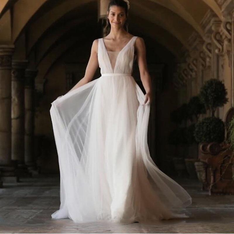 Lorie beach wedding dress 2019 v neck lace appliques a line princess boho wedding gown cuatom