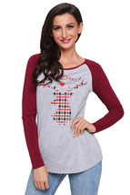 Oh Deer Plaid Christmas Reindeer Red Sleeve Blouse  - $18.96
