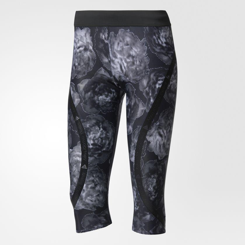 NWT Womens New Roses Flower Crop Leggings Adidas Capri M Black Stella McCartney