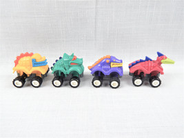 Set of Four 1994 Burger King Kids Club Dino Crawlers Wind Up Dinosaur Cars - $4.95