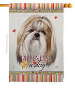 Shih Tzu Happiness - Impressions Decorative House Flag H110218-BO - $40.97