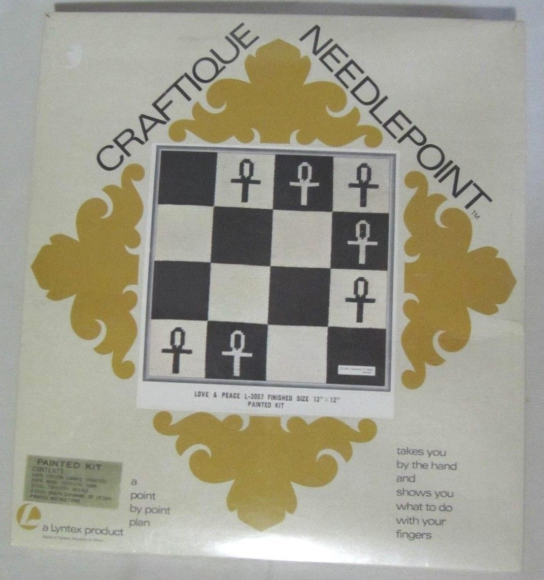 """CRAFTIQUE NEEDLEPOINT KIT 'LOVE & PEACE' 12"""" X 12"""" COMPLETE NEW! - $12.95"""