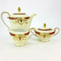 Vintage Albion Porcelain Teapot Creamer & Covered Sugar Bowl Set Gold Re... - $48.37