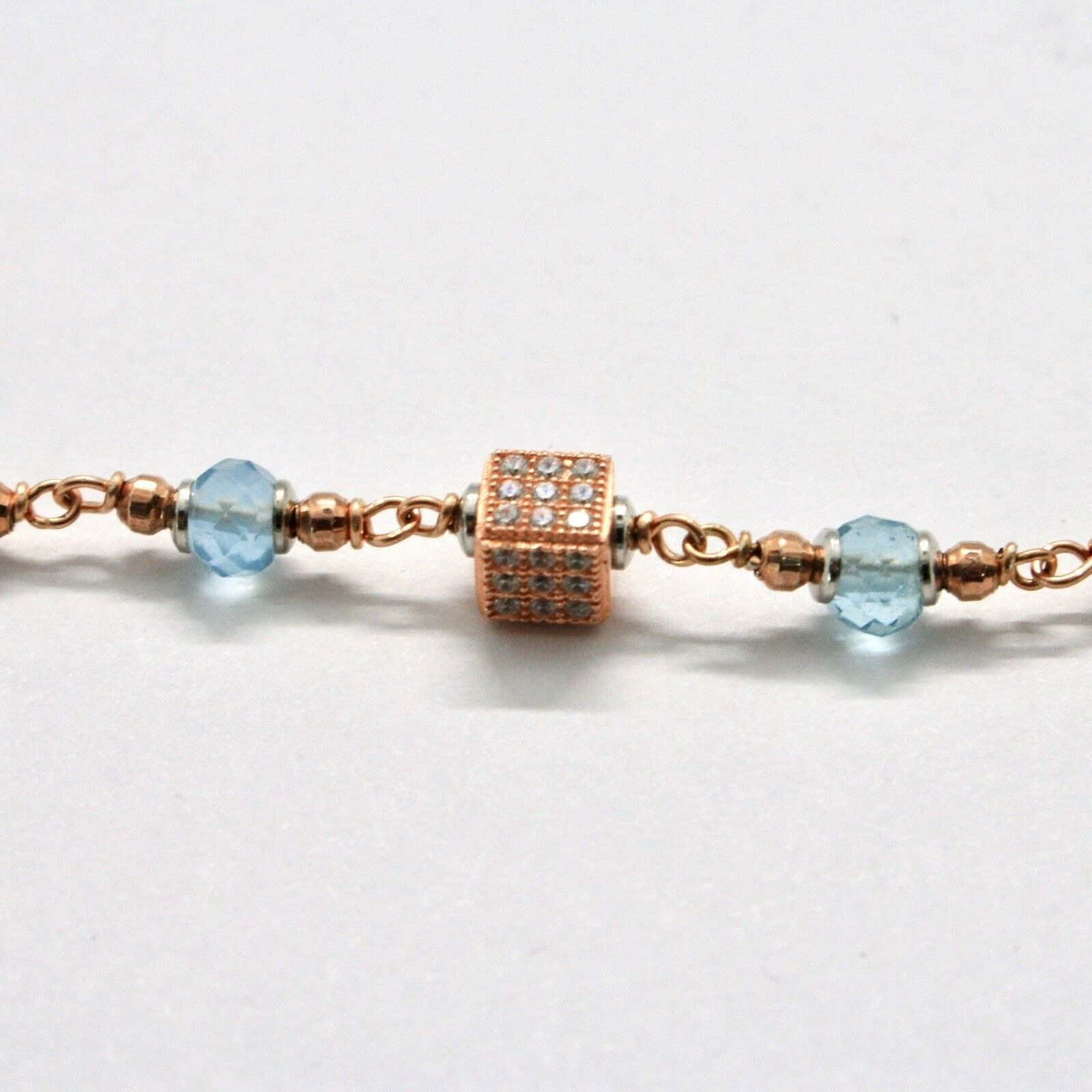 Silver Bracelet 925 Laminated in Rose Gold with Aquamarine and Zircon Cubic image 7