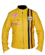 Men's Steve McQueen Le Mans Gulf Racing Style Stripes Leather Jacket - $69.29+