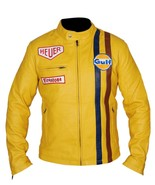 Men's Steve McQueen Le Mans Gulf Racing Style Stripes Leather Jacket - £46.53 GBP+