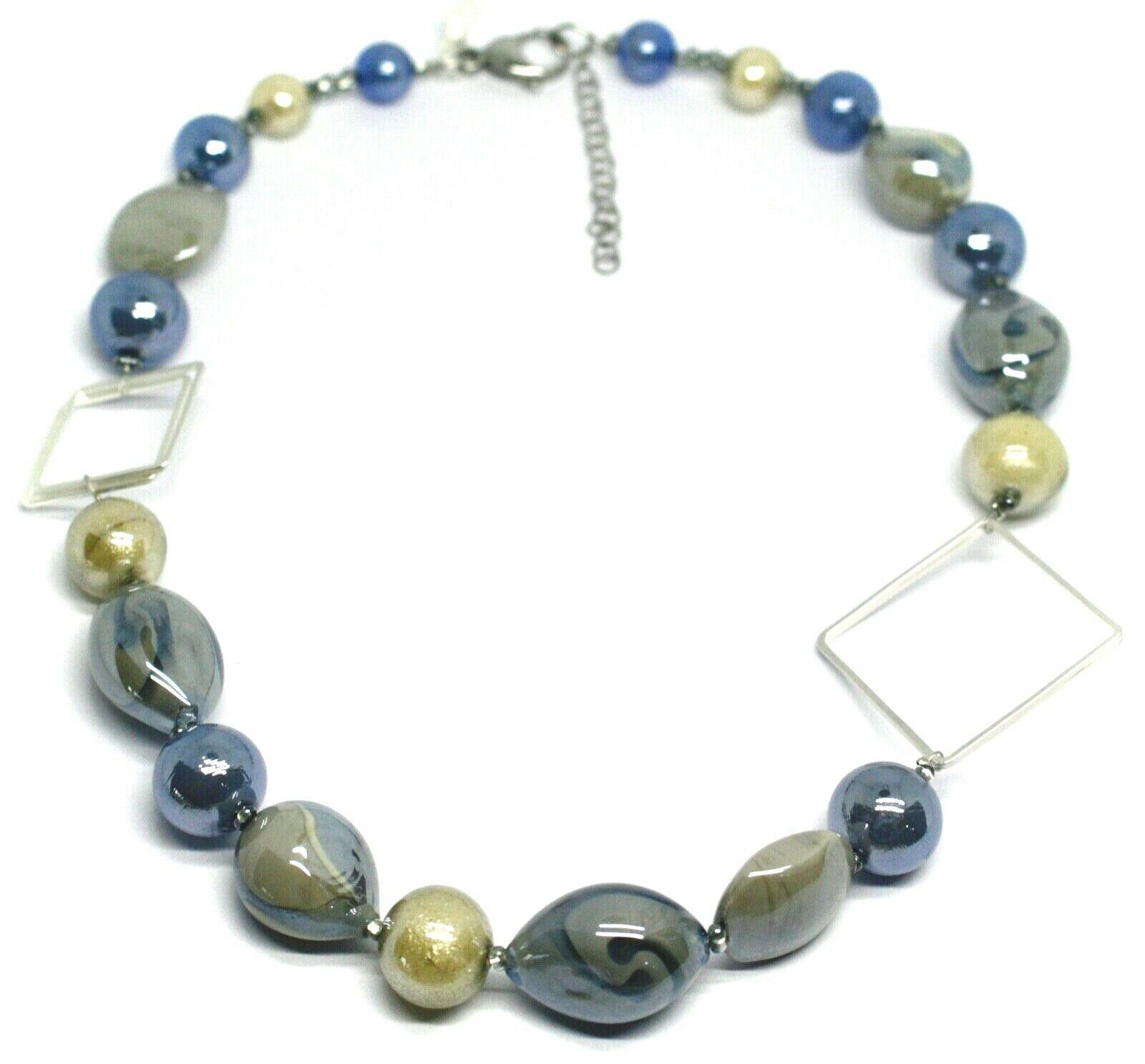 NECKLACE BLUE GRAY ROUNDED DROP, SPHERE, EXAGON MURANO GLASS SQUARE ITALY MADE