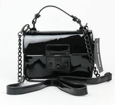 Steve Madden NWT $78 BEVIE Black Faux Patent Leather Crossbody Shoulder ... - $30.89