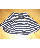 Girl's Size Small 5-6 The Children's Place Navy White Striped Pleated Mi... - $12.00