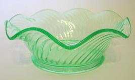 Green Depression Glass Bowl Swirled Body Ruffled Lip 2 1/4 Inches Tall  - $17.99