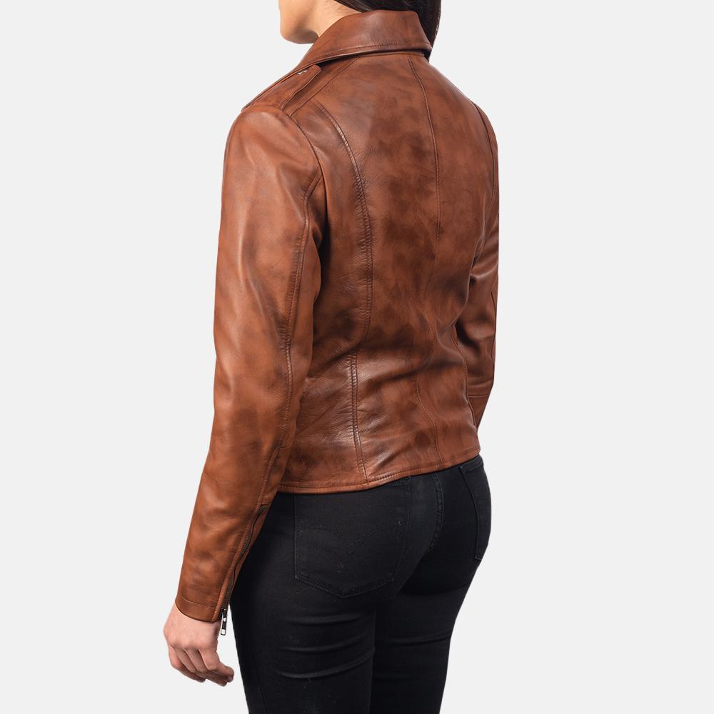 Women Slim fit Lambskin  Real Brown Aintique Leather Moto Biker Jacket-LD-02 image 2