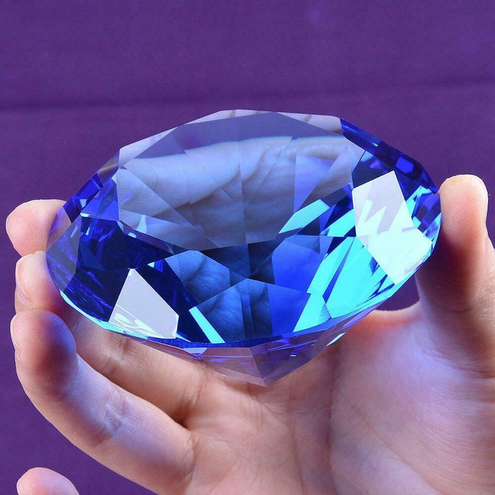 Ship From USA 80mm Blue Crystal Diamond Paperweight Home Wedding Decoration Crys
