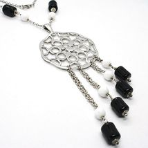 Necklace Silver 925, Onyx Black Pipe, Locket Stars and Circles Pendant image 3