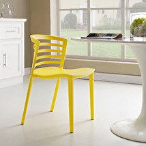 Modern Contemporary Curvy Plastic Dining Side Chair Glossy Yellow Ladder... - $109.61