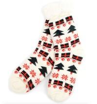 Urban-Peacock Knitted Fleece Sherpa Slipper Socks-Cream w/ Green & Red H... - $10.95
