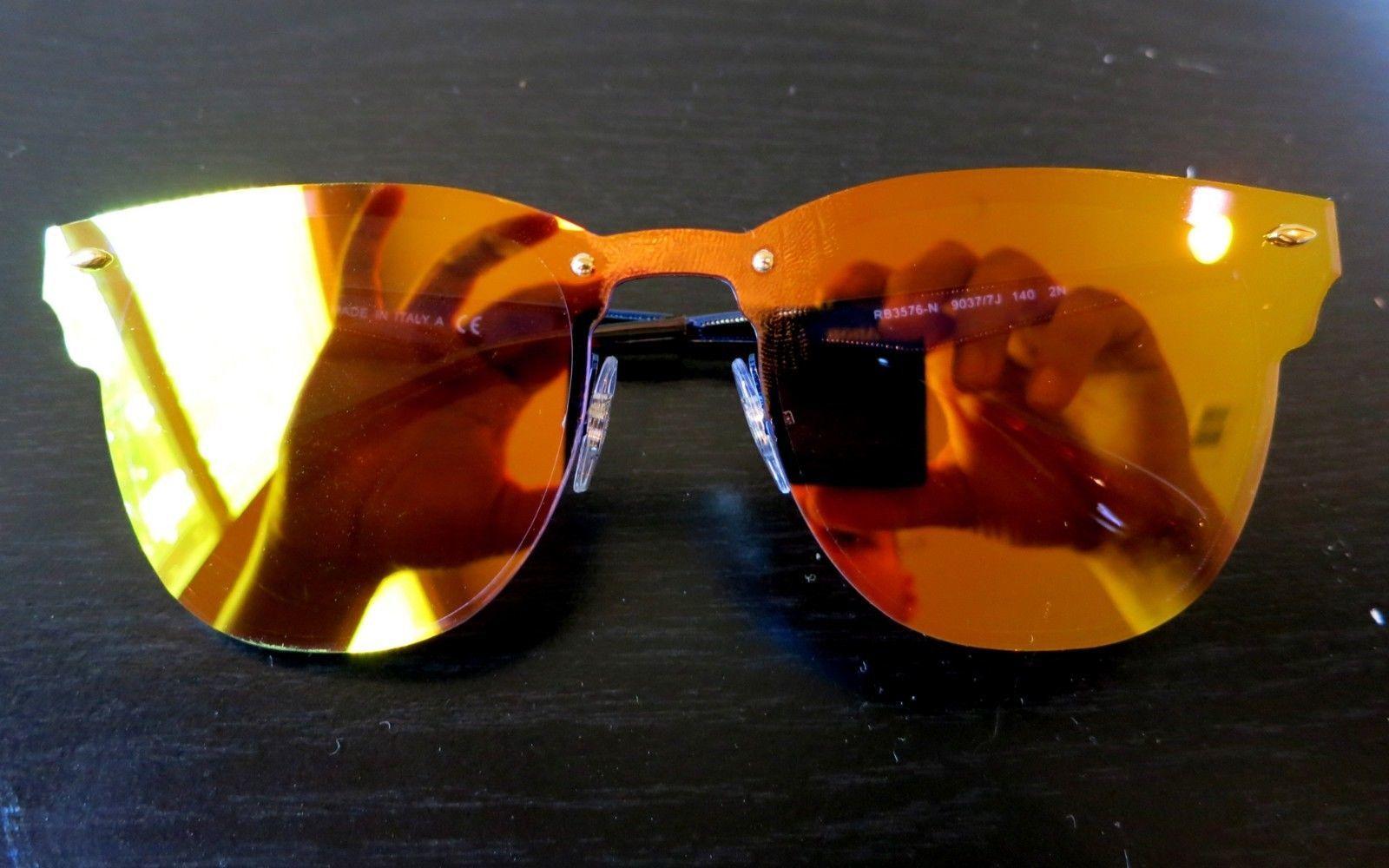 a8acb288cd9 Rayban Blaze Clubmaster sunglasses RB3576N 9037 7J Blue Orange Yellow 3576  Club