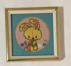 1970s Jiffy Finished Needlepoint Honey Bunny- Rabbit in White Wood Gold ... - $29.69