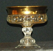 Clear King's Crown Compote with Thumb Print and gold Flash Design AA-191694 Vin