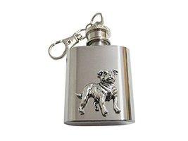 Staffordshire Bull Terrier Dog 1 Oz. Stainless Steel Key Chain Flask - $29.99