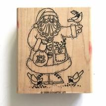 Stampin Up Santa Feeding Birds Rubber Stamp Christmas Cardinal Bird Seed Winter - $5.45