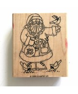 Stampin Up SANTA FEEDING BIRDS Rubber Stamp Christmas Cardinal Bird Seed Winter  - $5.45