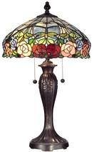 New Dale Tiffany Table Lamp  Zenia Rose Glass Jewels  - €569,04 EUR
