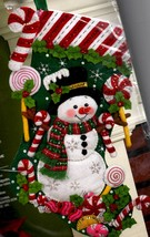 Bucilla Candy Snowman Peppermint Cane Christmas Holiday Felt Stocking Kit 86299 - $79.95