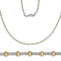 Men/Women's Stylish Italian 925 Silver 14K YG Mesh Round Bead Link Chain - $29.26+