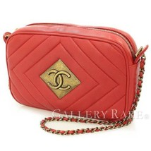 CHANEL Chain Shoulder Bag Lambskin Red Diamond Stitch Italy Authentic 47... - $2,073.20