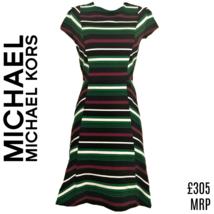 Michael Kors Dress Striped Stripes Skater Green Black Size Small - $85.39