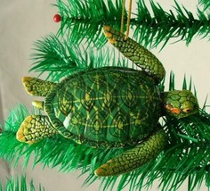 Tropical Reef Green Sea Turtle Green and Yellow Christmas Ornament - $15.96