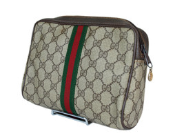 Authentic GUCCI GG Pattern PVC Canvas Leather Browns Clutch Bag GP2026 - $198.00