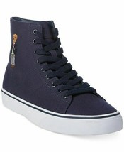 Polo Ralph Lauren Mens Polo Bear Solomon High-Top Sneakers Canvas Navy/White 9 - $85.62 CAD