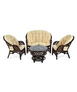 Natural Rattan Wicker Set 2-Chairs, Coffee Table, Sofa Roosevelt w/Cushion - $999.99