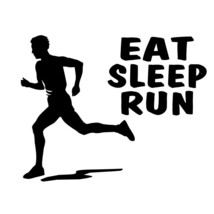 EAT SLEEP RUN boy man decal for marathon runner, jogging bumper sticker ... - $8.83