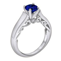 1.02 Ct Round Blue Sapphire Solitaire Engagement Wedding Ring 10K White ... - $78.99