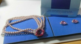 Vintage AVON Pink Pearlesque Double Row Necklace & Clip Earring Gift Set NIB - $24.99