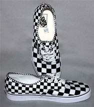 VANS Black & White Checkerboard LRG Squares Diamond Trim Low Shoes Men's... - $62.99