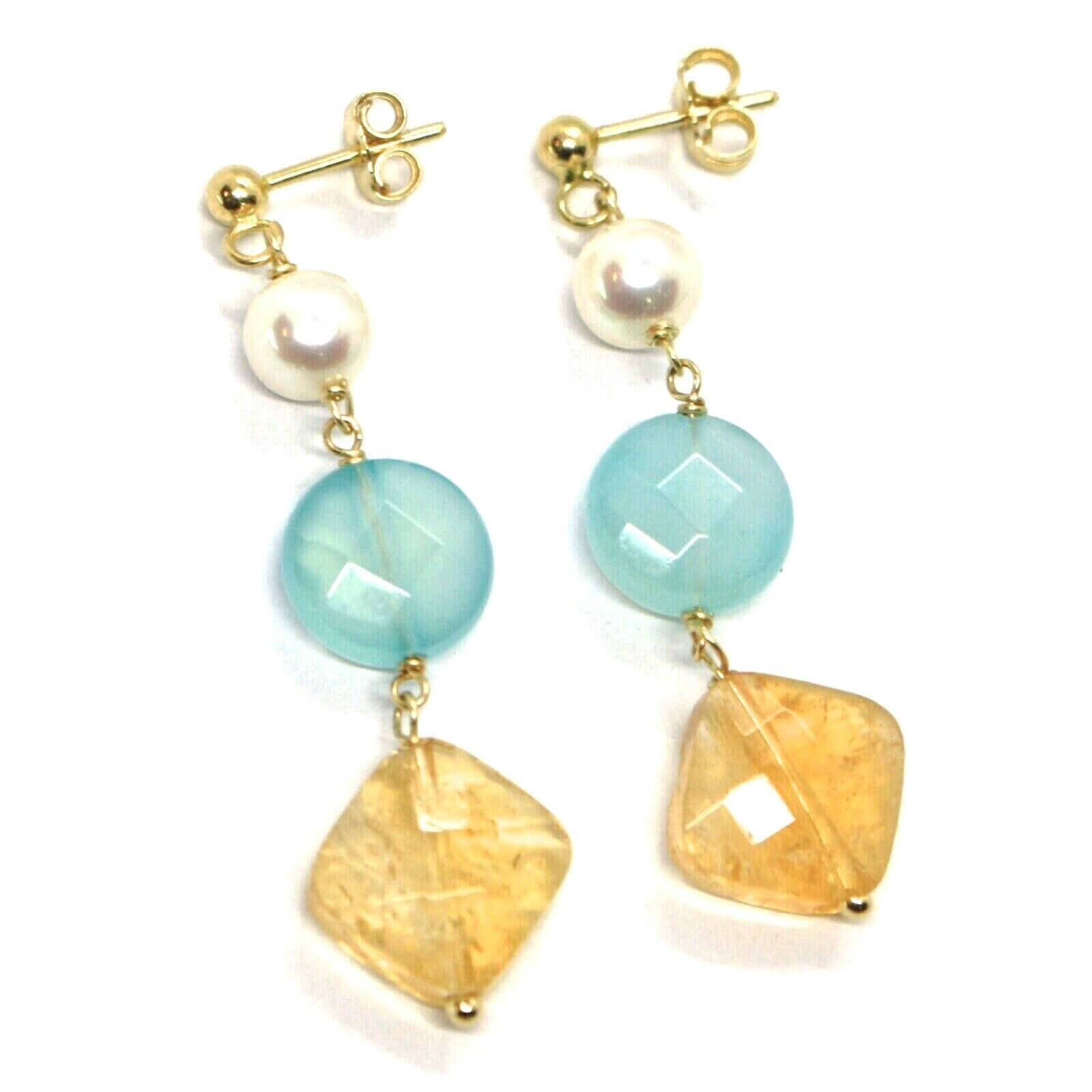 Drop Earrings Yellow Gold, 18K 750, Pearls, Citrine Square, Jade Blue Disco