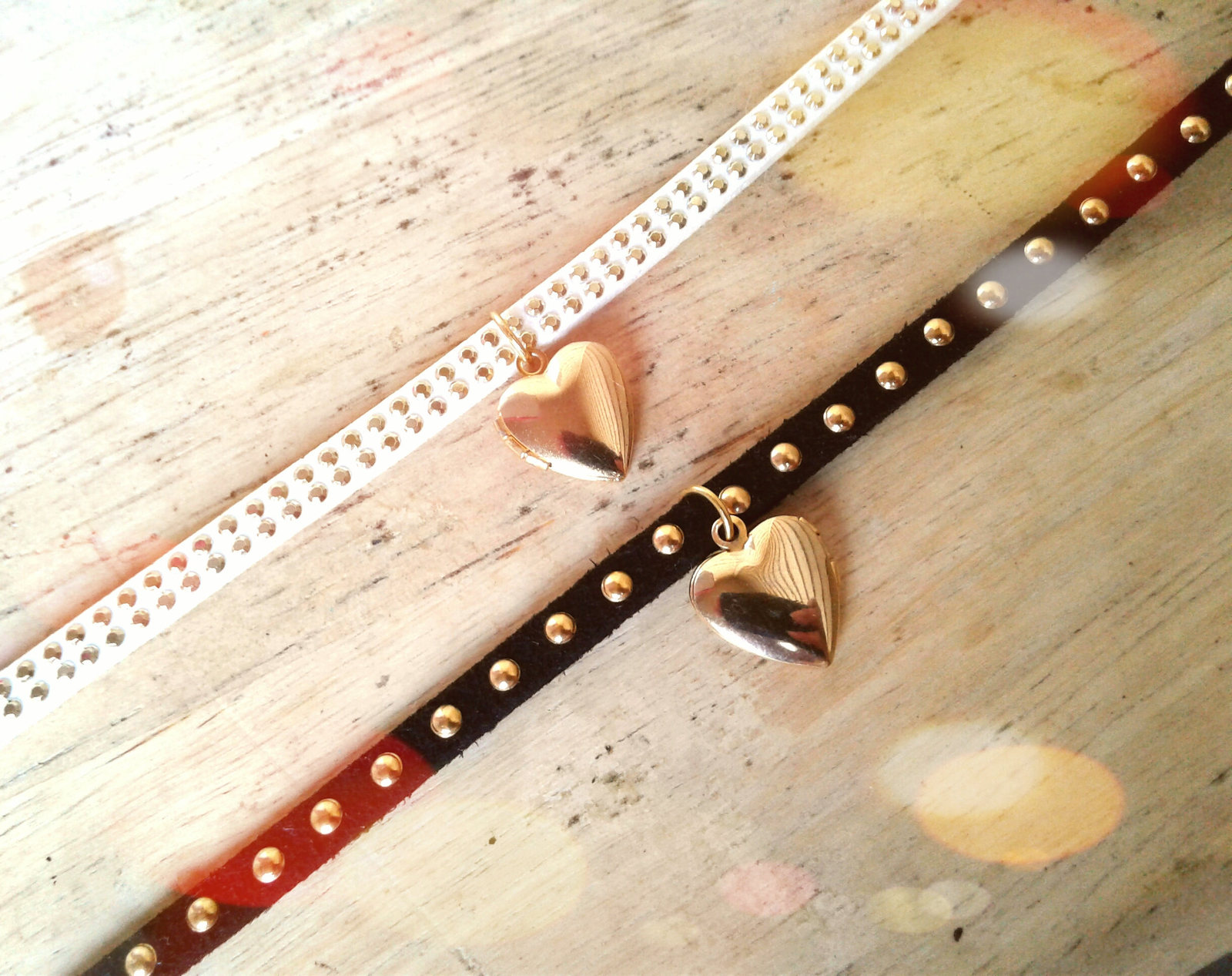 Studded White Leather Choker Gold Heart Locket Necklace Gold Studded White Leath