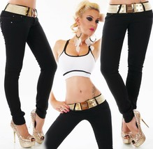 Women's skinny fit Jeans mid rise slim stretch Trousers Black with Belt UK 6-14 - $22.02