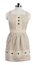 Olivia's Heartland Au Natural Tan & Cream stripes & Buttons Decorative Apron - $39.99
