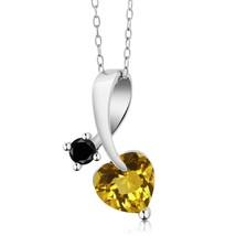 1.15 Ct Heart Shape Yellow Citrine Black Diamond 925 Sterling Silver Pen... - $69.99+