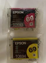 2 New Genuine EPSON 69 Ink Cartridges Magenta Yellow - $15.00