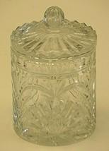 Clear Crystal Biscuit Barrel Cookie Jar w Lid 9 Point Pineapple Fan Designs - $59.39