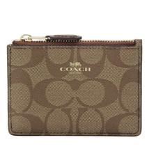 NWT COACH Mini Skinny ID Case Signature Wallet Khaki Saddle Brown F16107... - $28.71