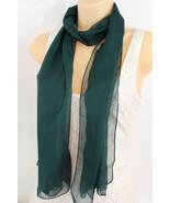 À la Mode pour Femmes Long Vert Foncé Écharpe Doux Pur Tissu Cravate Env... - $21.98