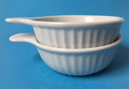 2 Unmarked Ribbed Grab It Dish Soup Bowls White w Tab Handles - $19.75
