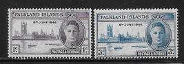 1946 Peace and Victory Set of 2 Falkland Island Stamps Catalog Number 97-98 MNH