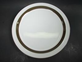 "Mikasa Metro White Brown Rim Chop Plate 12"" Round   L4825 - $9.69"